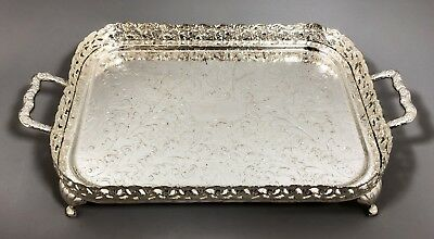 Vintage silver plate gallery serving tray raised 2-handled chased floral retro