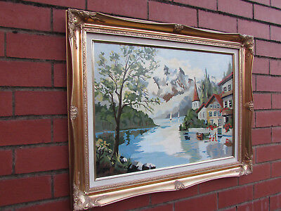 Large Oil Painting on Board Signed dated 1965 gold gilt frame Alpiness Riverside
