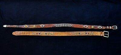 Two vintage 1950s Studded Jewelled western Belts. Nice