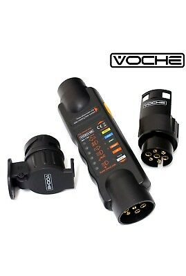 Voche' Wiring Circuit Tester 12V 7 Pin Trailer Lights Plug Socket 13 Pin Adapter