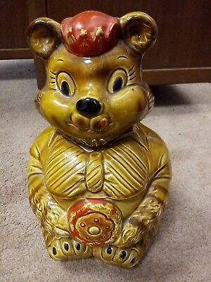 Vintage 1950s Mama Bear In Crown Hat Cookie Jar