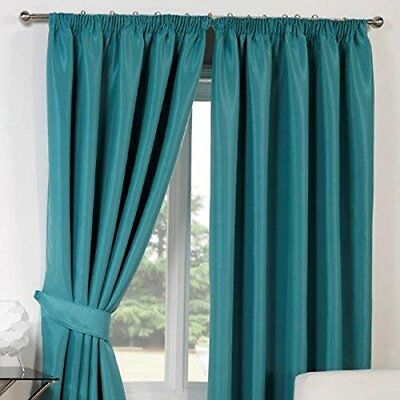 Dreamscene Luxury Faux Silk Blackout Thermal Soft Pencil Pleat Lined Curtains Wi