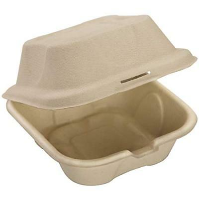 Biodegradable 6x6 Take Out Food Containers with Clamshell Hinged Lid 50 Pack. to
