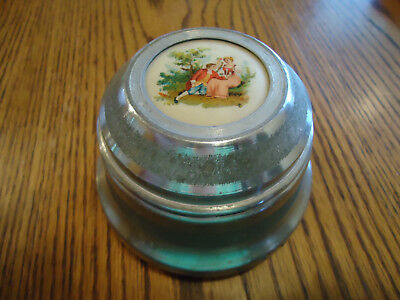 Vintage Silver Tone Metal Musical Powder Box With Victorian Couple Inlay Works