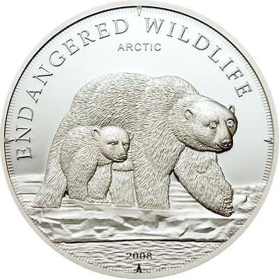 Cook Islands 2008 $5 Endangered Wildlife - Arctic Icebears 25g Proof Silver Coin
