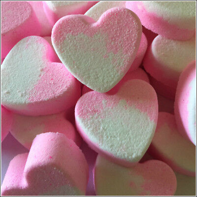 10X STRAWBERRY COCONUT MINI HEART BATH BOMBS-Great party favours GIFT PACK