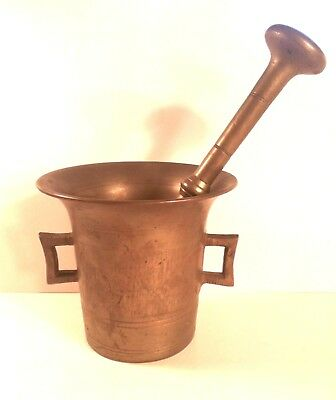 Solid Brass No 7 Apothecary Mortar and Pestle Old 19th Century W/ Hallmark Stamp