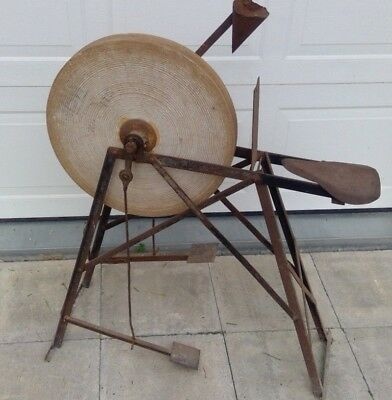 Cool Antique Sharpening Stone Grinding Wheel Pedal Operated Machost Co Dining Chair Design Ideas Machostcouk