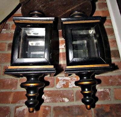 2 antique 18th or 19th original tole painted wooden carriage lanterns aafa