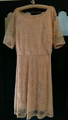 NWT Wrapper Womens 3X Pink Coral S/Sleeve Lacy Floral Overlay Slip Lined Dress