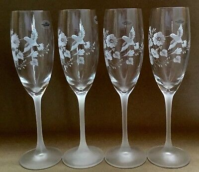 SET OF 4 New AVON Etched HUMMINGBIRD French CRYSTAL CHAMPAGNE FLUTES Glasses