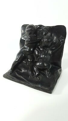 "Single Vintage Bronze Bookend Heavy Patina Cherubs Children Baby 5"" x 4"""