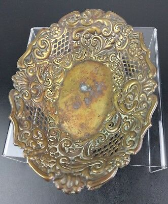 VTG Metal Floral Dish Patina Victorian Fancy Trinket Bowl Plate Candy Brass Art