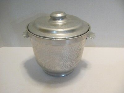 Vintage Mid Century  Hammered Aluminum Ice Bucket W / Lid Made In Italy