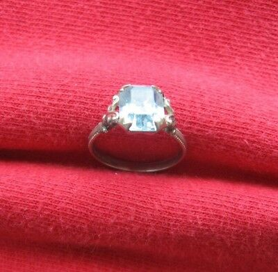 Antique or Vintage Sterling Silver Shank Ring with Light Blue Stone Size ~3.5