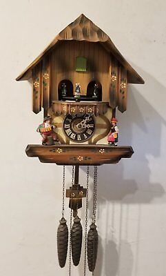 Vintage Black Forest Cuckoo Clock Musical Animated Dancers Schemeckenbecher Runs