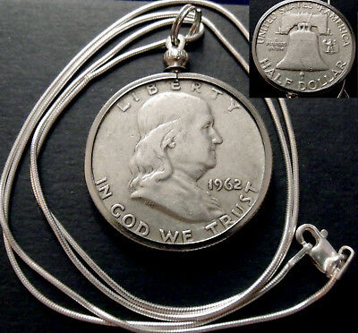 "1962 US Silver Ben Franklin Liberty Bell Pendant on a 22"" Italy Silver Necklace."