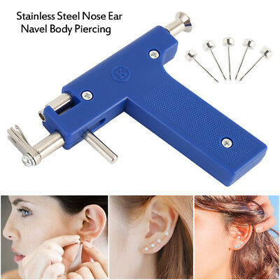 Pro Steel Ear Nose Navel Body Piercing Gun Kit Tool Set with Pack of 98 Studs
