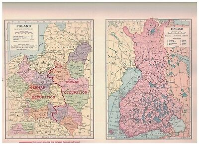 1940 Map Of Poland Showing The Ribbentrop Line of Occupation - Map of Finland
