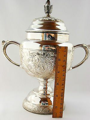 """Antique extra large 10"""" silver plated bowl with lid Toronto Silver Plate"""