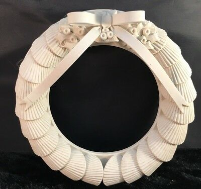 "1980 Margaret Furlong Ivory Bisque 8"" Sea Shell Wreath Bow Holly Berries Htf"