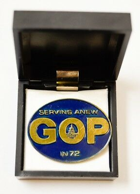 #1 1972 Republican GOP National Convention Miami Serving Anew in 72 Pin Medal