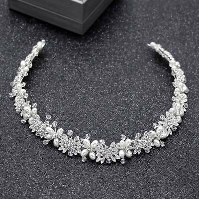 Bridal Hair Vine Silver Crystal Pearl Wedding Hair Jewelry Headpiece Women Crown