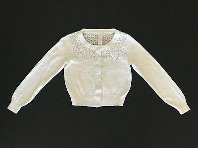 Cherokee White Full Button Front Cardigan Sweater Girls Size XS (4/5)