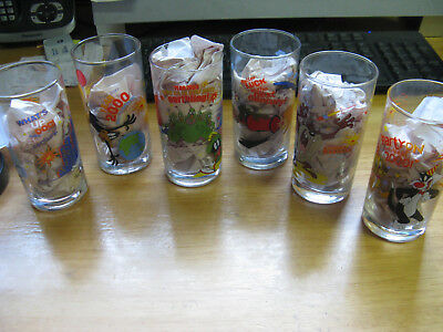 Ixl Collectables Looney Tunes Year 2000 Millennium, 6 Limited Glasses Full Set.
