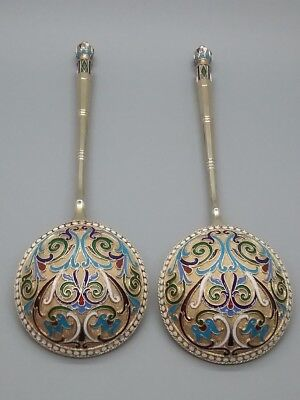 Two Great Large Antique Russian Silver Enamel Spoons 84 silver Kokoshnik marks