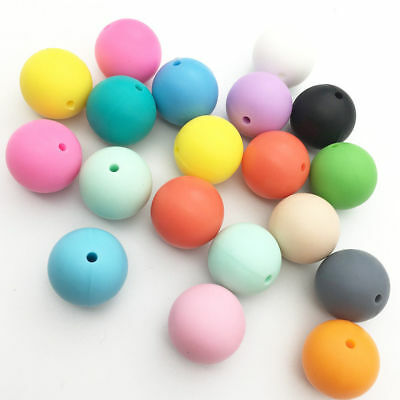 20Pcs Silicone Beads Loose Teething Beads DIY Baby Chewable Jewelry Necklace