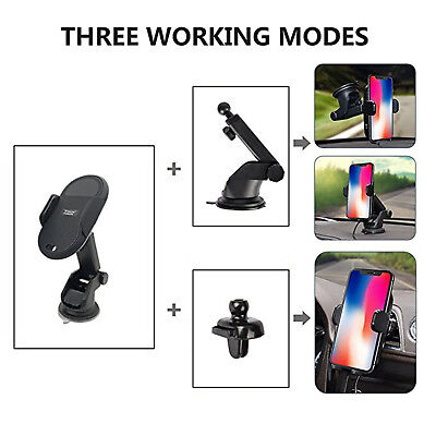 Qi Wireless Fast Car Charger Magnetic Air Vent Mount Holder For Samsung iPhone X