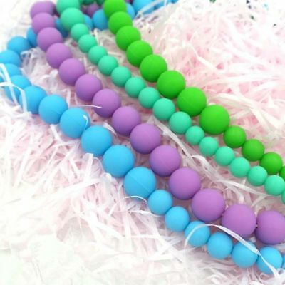 Baby BPA Free Silicone Teething Necklace Nursing Teether Round Beads Chain 20x