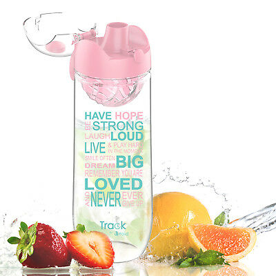1000ml Fruit Sport Water Bottle w/ Time Marking Innovative Infuser One-Click Top
