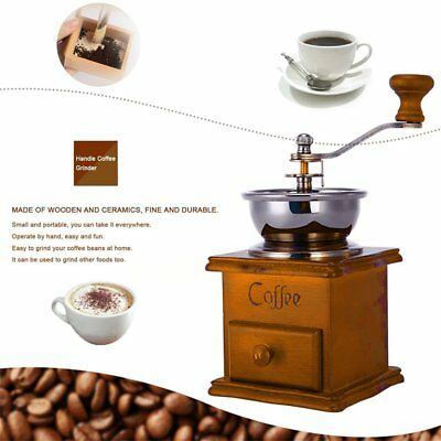 Antique Coffee Grinder Mill Manual Hand Made Wooden Bean Grind  Kaffeemühle