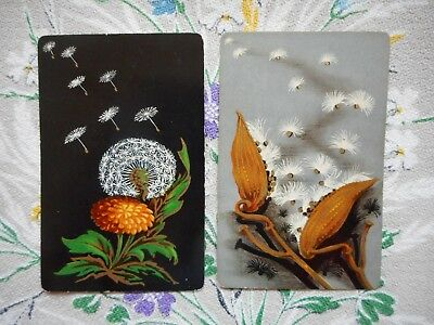 Two/pair of vintage playing/game cards - seeds, dandelion clock, flowers, plants
