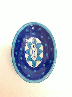 Decorative Blue Pottery Hand Painted Designing Soap or Trinket Dish