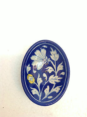 Antique Hand Painted Blue Pottery Floral Design Decorative Soap or Trinket Dish