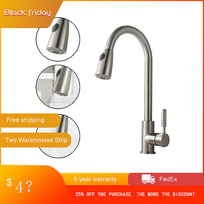 Commercial Single Handle High Arc Brushed Nickel Pull out Kitchen Faucet, Single