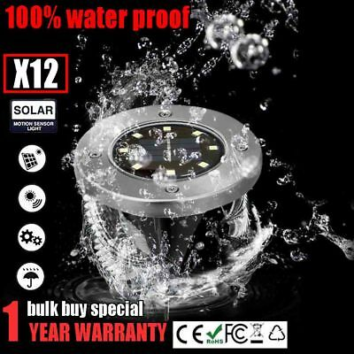 12x 8 LED Waterproof Solar-powered Buried Light Under Ground Lawn Lamp Outdoor