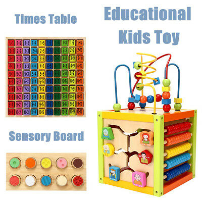 Baby Kids Montessori Early Educational Times Table Touch & Match Sensory Board