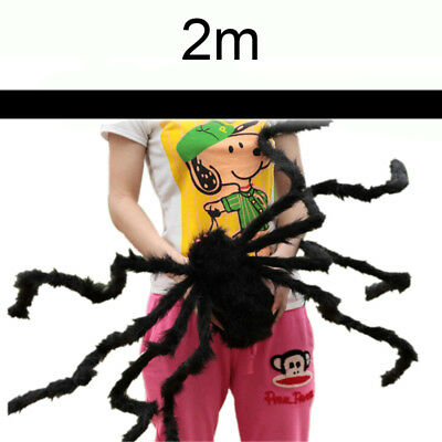 Black Giant Spider Halloween Scary Haunted House Prop Party Plush Toy 30/200cm