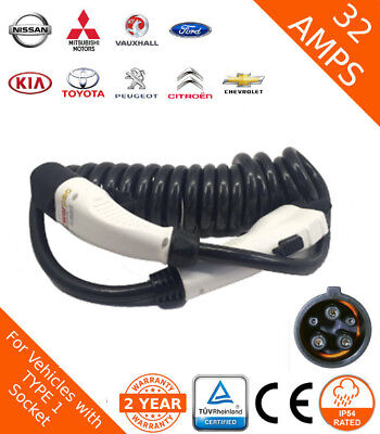 Nissan Compatible Fast Charging Lead Type 1 (J1772) 32amp 5m Spiral Cable