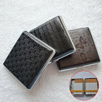 20 Outfit Cortico Portable Cigarette Case Metal Faux Leather Holder Minimalism