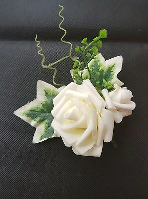 Joblot  bundle 6 pcs x large double wedding boutonniere  ivory rose SALE