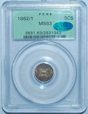 1862/1 PCGS MS63 CAC FS-301 Overdate 3 Cent Silver 3CS OGH