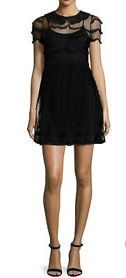 Red Valentino Peter Pan Collar Lace Dress 48 Nwt Black Party