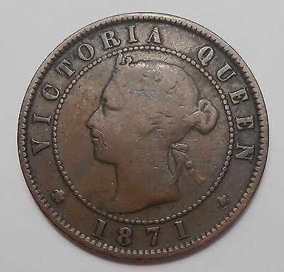 1871 Prince Edward Island Large Cent VG ** KEY Queen Victoria ONLY P.E.I. Penny