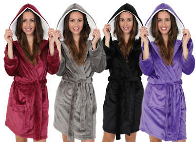 Luxuriously Soft Ladies Short Length Hooded Fleece Robe with Sherpa Lined Hood.