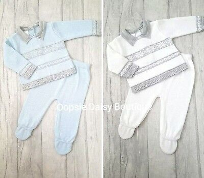 SALE - Boys Blue & White Patterned Spanish Knitted Suits - 1mth 3mth 6mth 9mth